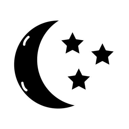moon with stars insomnia silhouette style icon vector illustration design Vectores