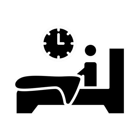 person in bed with insomnia and clock silhouette style icon vector illustration design Vectores