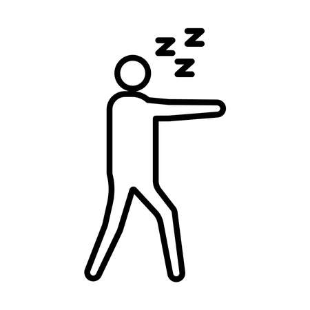 avatar figure with Insomnia z letters line style icon vector illustration design