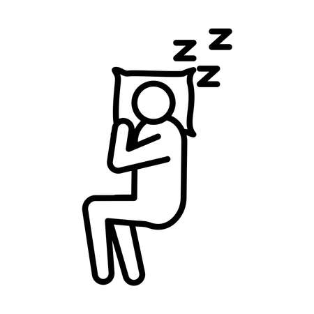 avatar figure and pillow with Insomnia z letters line style icon vector illustration design
