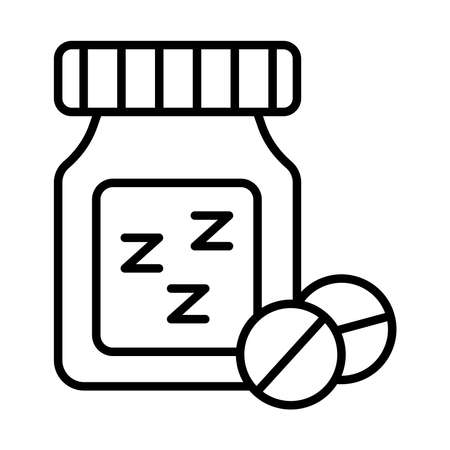 Insomnia bottle drugs with z letters line style icon vector illustration design
