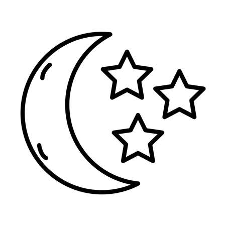 moon with stars insomnia line style icon vector illustration design Vectores