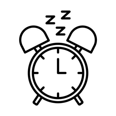 alarm clock with Insomnia z letters line style icon vector illustration design