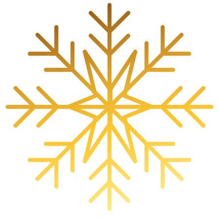 happy merry christmas golden snowflake icon vector illustration design