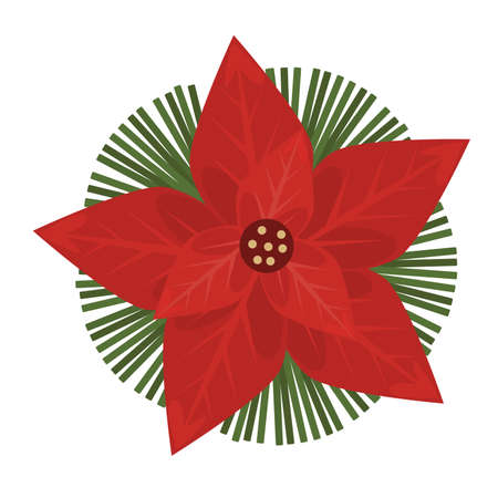 happy merry christmas decorative red flower and leafs vector illustration design Vectores
