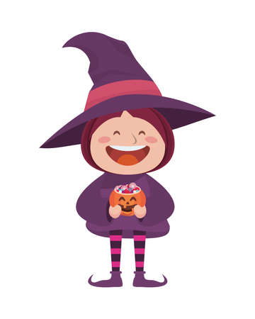 cute little girl dressed as a witch vector illustration design Vectores