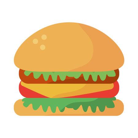 fresh hamburger fast food icon vector illustration design