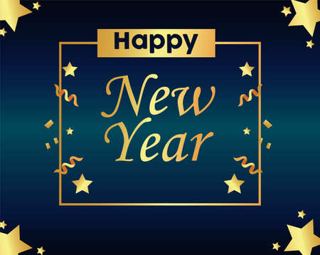 happy new year lettering golden card with gold stars in square frame vector illustration design Vectores