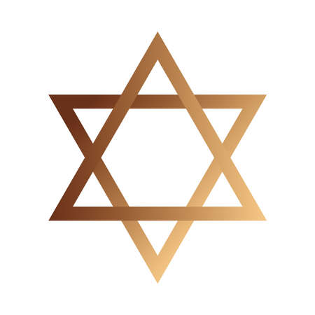hanukkah jewish golden star celebration icon vector illustration design