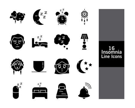 bundle of Insomnia silhouette style icons vector illustration design