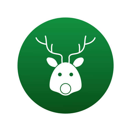 happy merry christmas reindeer head block style icon vector illustration design Vectores