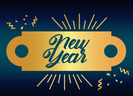 new year golden lettering card with gold tag vector illustration design Vectores