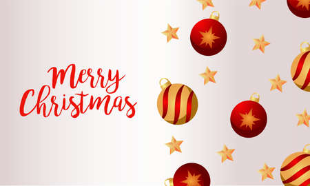 merry christmas and happy new year lettering card with golden and red balls vector illustration design
