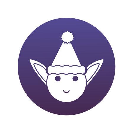 happy merry christmas elf head block style icon vector illustration design Vectores