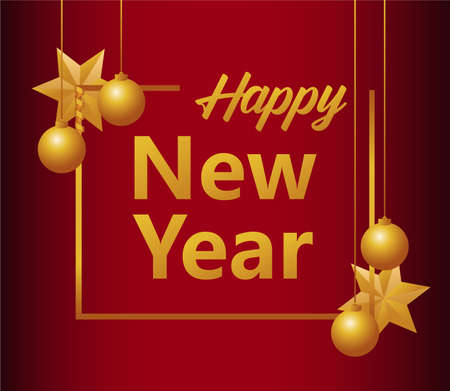 happy new year lettering card with stars and balls in square frame vector illustration design