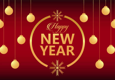 happy new year lettering golden card with gold balls in circular frame vector illustration design Vectores
