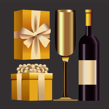 happy new year card with gifts and champagne vector illustration design