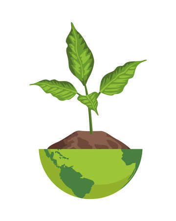 plant in half earth planet ecology icon vector illustration design