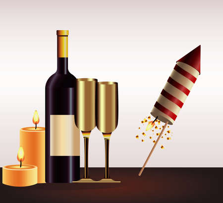 happy new year card with champagne and firework rocket vector illustration design
