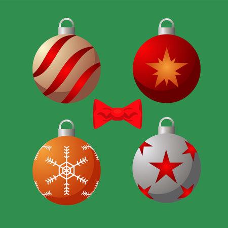 happy merry christmas set colors balls vector illustration design
