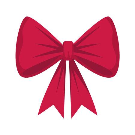 happy merry christmas bow ribbon icon vector illustration design Vectores