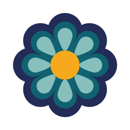 beautiful flower blue decoration garden icon vector illustration design