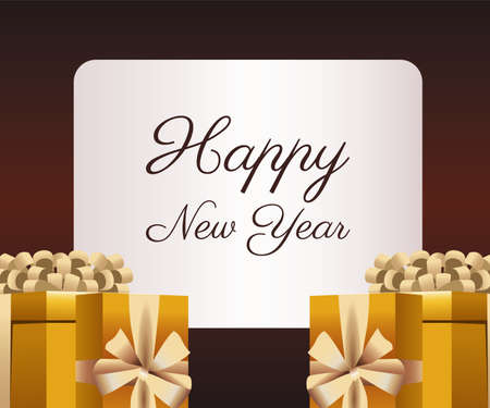 happy new year lettering card with golden gifts vector illustration design