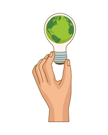 hand lifting bulb ecology with planet earth vector illustration design