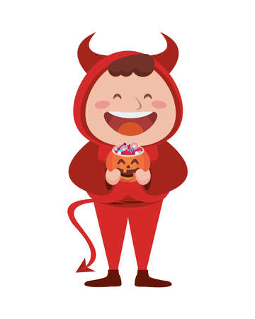 cute little boy dressed as a devil character vector illustration design Vectores