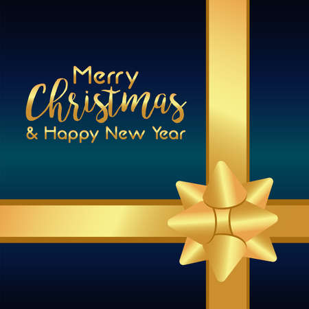 merry christmas and happy new year lettering card with golden bow ribbon vector illustration design