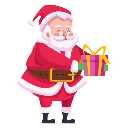 cute santa claus lifting gift character vector illustration design
