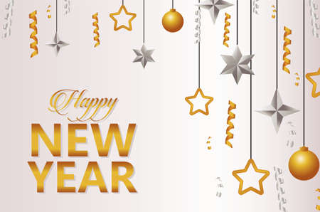 happy new year lettering card with balls and stars vector illustration design