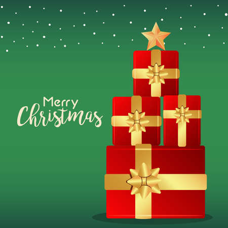 merry christmas and happy new year lettering card with tree of gifts vector illustration design Vectores