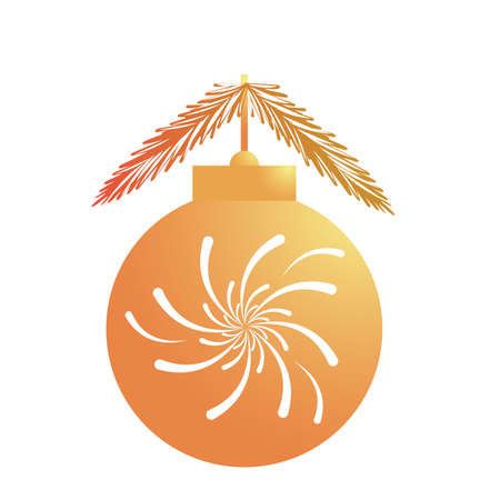 happy merry christmas golden ball with splash lights and firs leafs vector illustration design