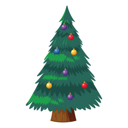 happy merry christmas pine tree with colors balls vector illustration design