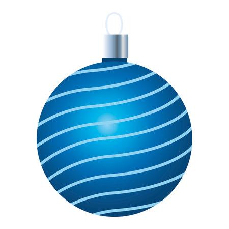 happy merry christmas blue ball icon vector illustration design