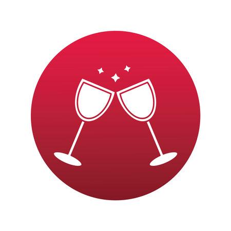 wine cups drink block style icon vector illustration design