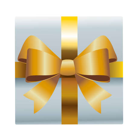 merry christmas white gift with golden bow vector illustration design
