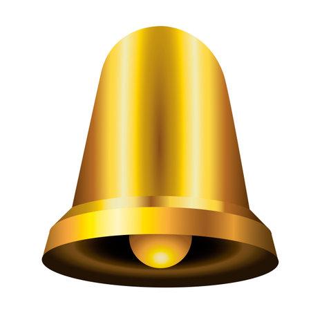 happy merry christmas golden bell icon vector illustration design Vectores