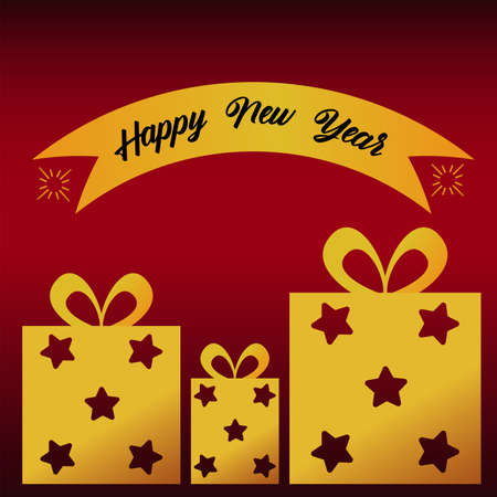 happy new year lettering card with golden gifts and ribbon vector illustration design