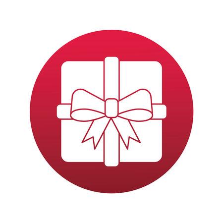 happy merry christmas gift block style icon vector illustration design