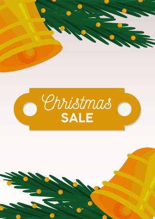 happy merry christmas sale lettering card with bells and leafs vector illustration design