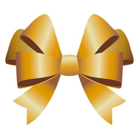 happy merry christmas golden bow ribbon vector illustration design