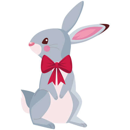 happy merry christmas cute rabbit character vector illustration design Vectores