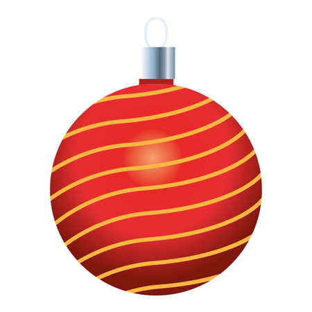 happy merry christmas red ball icon vector illustration design