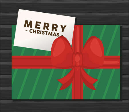 happy merry christmas lettering card with green gift vector illustration design Vectores