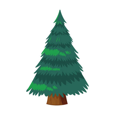 happy merry christmas pine tree icon vector illustration design Ilustrace