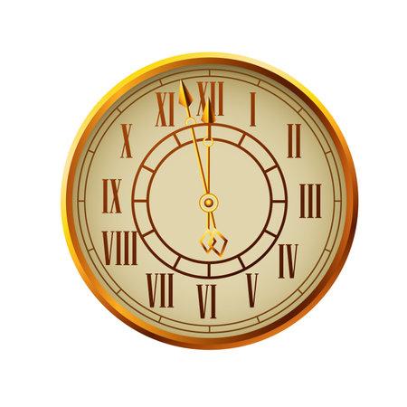 happy new year golden watch celebration vector illustration design