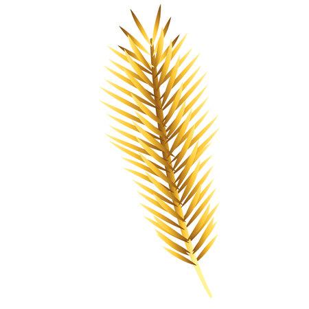 happy merry christmas golden fir leaf tree icon vector illustration design