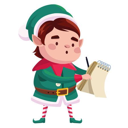 cute santa helper christmas character writing in notebook vector illustration design